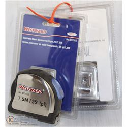 PAIR OF STAINLESS STEEL MEASURING TAPE 25'