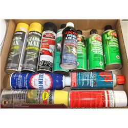 FLAT OF ASSORTED SPRAY PAINTS + BRAKE CLEANER
