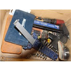 BOX W/ TAP AND DIE SETS, STUBBY WRENCHES, AIR