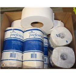 LOT OF ASSORTED PAPER TOWEL + COMMERCIAL TISSUE