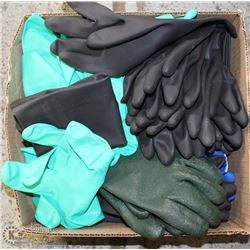 BOX OF ASSORTED RUBBER CLEANING GLOVES