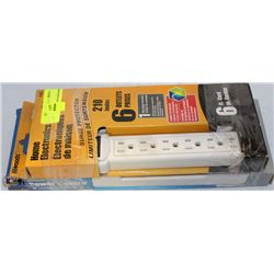 LOT OF 2 SURGE PROTECTOR POWER BARS 6FT CORD