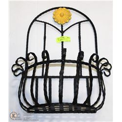 HEAVY WROUGHT IRON WALL PLANTER BASKET