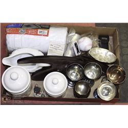 LOT OF OF MISC HOUSEHOLD ITEMS INCL CANISTERS,