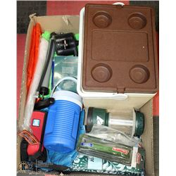 LARGE BOX W/CAMPING/OUTDOOR PRODUCTS