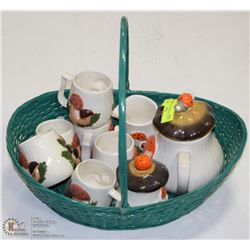 BASKET OF MUSHROOM DESIGNED DISHES