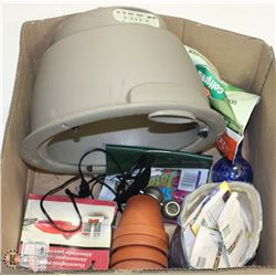 LARGE BOX OF GARDEN POTS, FEEDER, SEEDS,