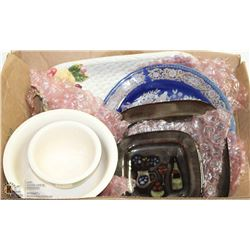 BOX W/DECORATIVE PLATTERS, PLATES &