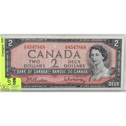 1954 CANADA TWO DOLLAR BILL     K/R