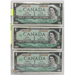 LOT OF 3-1967 CANADA ONE DOLLAR BILLS  SEQUENTIAL