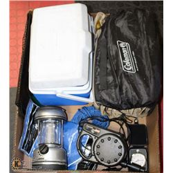 LARGE BOX OF CAMPING GEAR INCL. BLUE