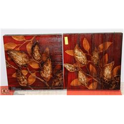 LOT OF 2 CANVAS ABSTRACT LEAF PAINTINGS 20X20