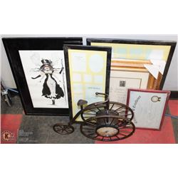 BOX OF HOUSEHOLD DECOR INCL BICYCLE CLOCK/MIRROR