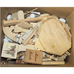 LARGE BOX OF ASSORTED WOOD FIGURES FOR CRAFTS