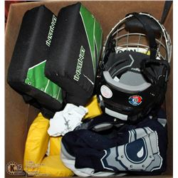 BOX WITH ASSORTED MISC. INCL KIDS LIFE JACKETS,