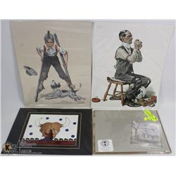 LOT OF 4 PRINTS INCL NORMAN ROCKWELL, THOMAS