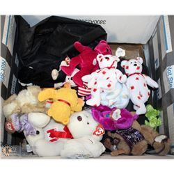 ESTATE LOT OF BEANIE BABIES WITH SUITCASE AND BAG
