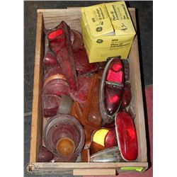 BOX OF VINTAGE AUTO LENSES AND BULBS