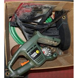 BOX OF HARDWARE INCL TRIMMER, SOME NEW ITEMS