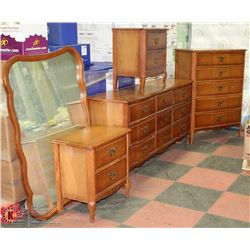 4 PC WOOD FRENCH PROVINCIAL BEDROOM SET , DRESSERS