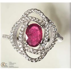 3- STERLING SILVER RUBY & CUBIC ZIRCONIA RING