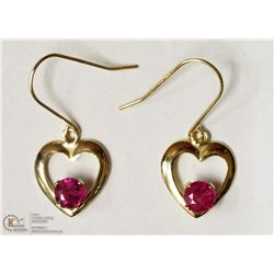 5- 14KT YELLOW GOLD RUBY HEART SHAPED EARRING