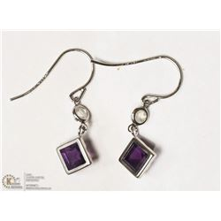 6- 10KT WHITE AMETHYST & MOONSTONE EARRINGS
