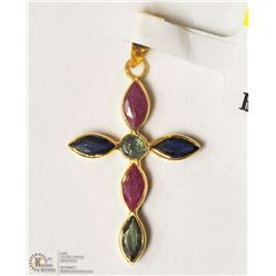 10- 18KT YELLOW GOLD RUBY & SAPPHIRE PENDANT