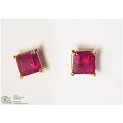 12- 14KT YELLOW GOLD RUBY EARRING