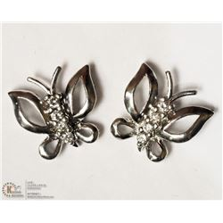 17- STERLING SILVER DIAMOND BUTTERFLY EARRINGS