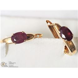 18- 14KT YELLOW GOLD RUBY HOOP EARRINGS