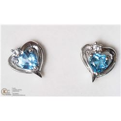 22- 14KT Y. GOLD BLUE TOPAZ HEART SHAPED EARRINGS