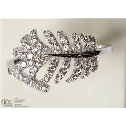 23- ST. SILVER CUBIC ZIRCONIA LEAF RING SIZE 7.5