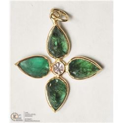 24- 14KT YELLOW GOLD  EMERALD & DIAMOND PENDANT