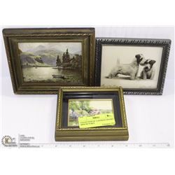 COLLECTION OF 3 ANTIQUE FRAMED MINI PICTURES
