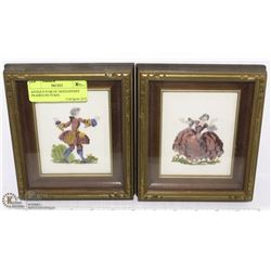 ANTIQUE PAIR OF NEEDLEPOINT FRAMED PICTURES