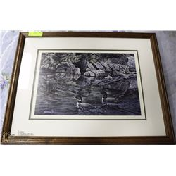 """FRAMED LOON PICTURE BY RANKIN 21""""X25"""""""