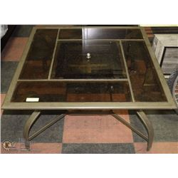 60) GLASS TABLE WITH FIRE PIT IN CENTER