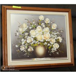 "FRAMED FLOWER PICTURE 21""X25"""