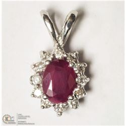 27- 14KT WHITE RUBY & DIAMOND PENDANT