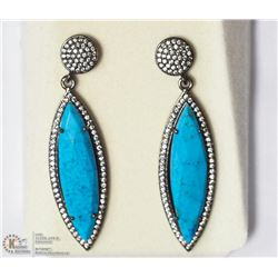 31- ST. SILVER GPL TURQUOISE &CUBIC EARRINGS