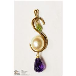 34- 14KT YELLOW GOLD GEMSTONE & DIAMOND PENDANT
