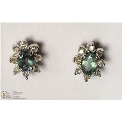 38- 14KT WHITE ALEXANDRITE & DIAMOND EARRINGS