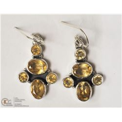 42- STERLING SILVER CITRINE EARRINGS