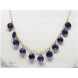 44- 10KT YELLOW GOLD  AMETHYST NECKLACE
