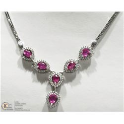 48- STERLING SILVER RUBY & CUBIC ZIRCONIA NECKLACE