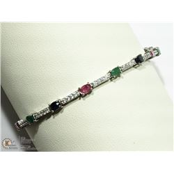 49- STERLING SILVER GEMSTONE BRACELET