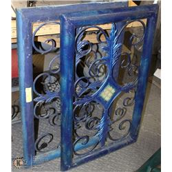 2 BLUE WROUGHT IRON WALL HANGINGS