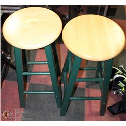 "2 OAK GREEN AND OAK COLOR STOOLS 28""H"