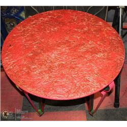 "PINK WROUGHT IRON GLASS ROUND TABLE 28""X21""H"